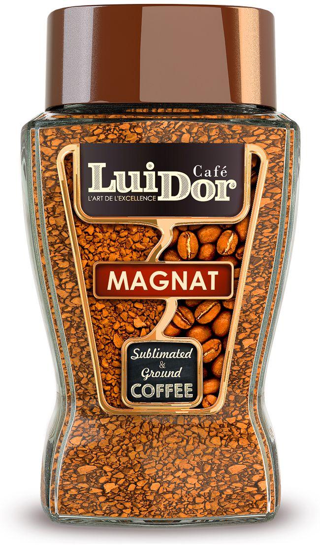 Luidor Magnat кофе растворимый сублимированный с добавлением молотого, 95 г