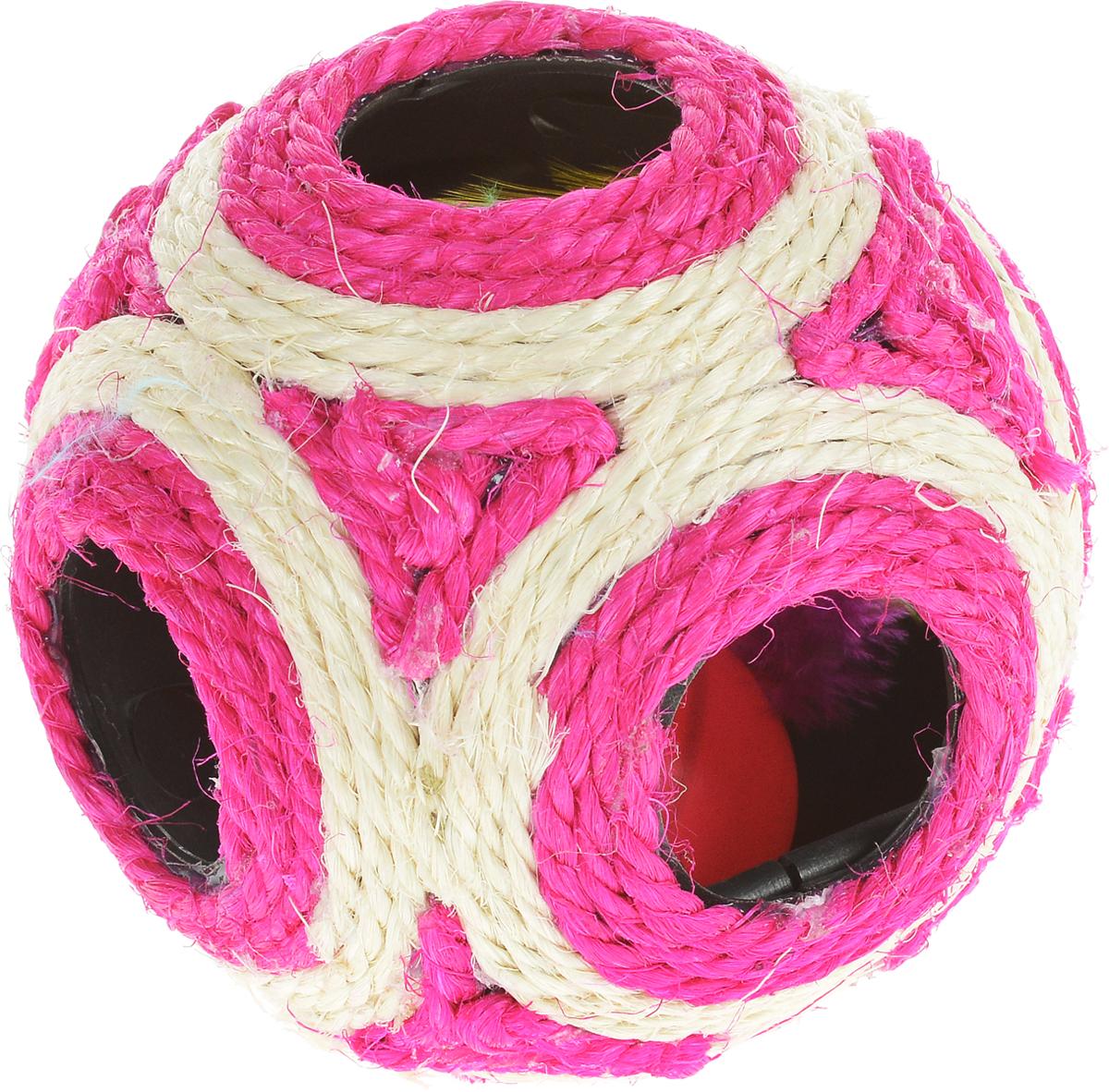 Когтеточка Triol Мяч, цвет: фуксия, слоновая кость, диаметр 11,5 смКк-05800/NT-309_фуксия, слоновая костьКогтеточка Triol Мяч выполнена из разноцветного сизаля. Внутри когтеточки расположена игрушка в виде шарика-погремушки с перьями, которые привлекут внимание вашего питомца. Всем кошкам необходимо стачивать когти. Когтеточка - один из самых необходимых аксессуаров для кошки. Когтеточка должна висеть на такой высоте, чтобы кошка могла встать на задние лапы и вытянуть наверх передние. Для приучения к когтеточке можно натереть ее сухой валерьянкой или кошачьей мятой. Когтеточка Triol Мяч поможет вашему любимцу стачивать когти и при этом не портить вашу мебель. Диаметр когтеточки: 11,5 см.