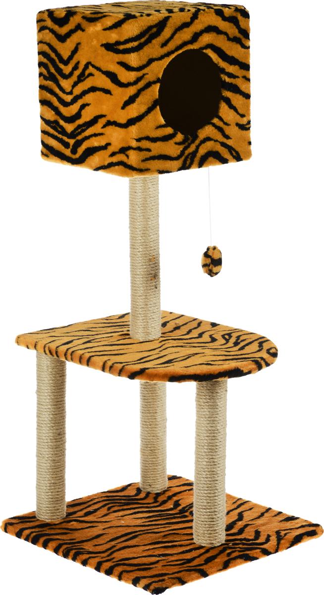 Домик-когтеточка Меридиан Квадратный, 3-ярусный, с игрушкой, цвет: коричневый, черный, 51 х 51 х 105 смД128ТДомик-когтеточка Меридиан Квадратный выполнен из высококачественного ДВП и ДСП и обтянут искусственным мехом. Изделие предназначено для кошек. Комплекс имеет 3 яруса. Ваш домашний питомец будет с удовольствием точить когти о специальные столбики, изготовленные из джута. А отдохнуть он сможет либо на полках, либо в расположенном вверху домике. Изделие снабжено подвесной игрушкой. Домик-когтеточка Меридиан Квадратный принесет пользу не только вашему питомцу, но и вам, так как он сохранит мебель от когтей и шерсти. Общий размер: 51 х 51 х 105 см. Размер домика: 31 х 31 х 31 см.