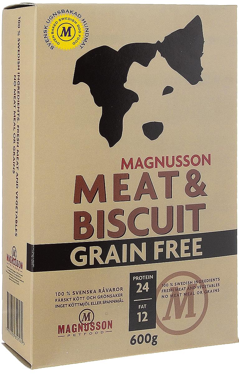 Корм сухой Magnusson Grain Free, для взрослых собак, 600 гF250060-2Сухой корм Magnusson Grain Free - это полноценное, сбалансированное, богатое по составу питание, в котором нет злаков. Источником животного белка является филейная часть говядины (44% свежего мяса) без добавления мясной, рыбной, куриной муки или субпродуктов. В составе Grain Free есть свежие куриные яйца, как источник всех незаменимых аминокислот и свежая морковь, которая является отличным источником витамина А, регулирует углеводный обмен и оказывает положительное воздействие на работу пищеварительной системы вашей собаки. Источники углеводов – картофель, который улучшает обмен веществ, а также богат минеральными веществами, благотворно влияющими на пищеварительную систему и горох, который является уникальным источником углеводов, улучшает моторику кишечника. Черника, так же входящая в состав Grain Free, богата антиоксидантами, витаминами А, К и С, фосфором, кальцием, калием и полезна для здоровья глаз и мозга собаки. А в ягодах брусники большое количество полезных витаминов....