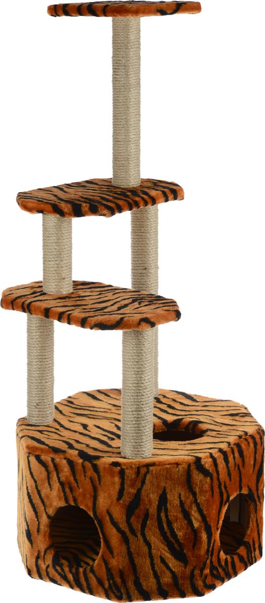 """Домик-когтеточка Меридиан """"Высотка"""", 4-ярусный, цвет: коричневый, черный, 51 х 51 х 123 см Д240Т"""