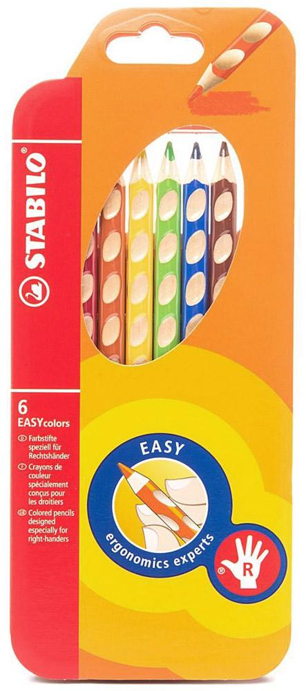 Набор цветных карандашей Stabilo Easycolors для правшей, 6 цветов332/6Преимущества карандашей STABILO EASYcolors. Специальные углубления на корпусе карандаша подсказывают ребенку как располагать большой и указательный пальцы, прививая первоначальный навык правильно держать пишущий инструмент. Расположение углубление по всей длине корпуса обеспечивает правильное удержание карандаша ребенком при письме и рисовании даже после заточки карандаша. С течением времени навык автоматически закрепляется в памяти ребенка, позволяя ему быстрее и легче адаптироваться к процессу обучения письму, освоить правильную технику письма и сделать письмо красивым и быстрым. Создают максимальный комфорт для ребенка - трехгранная форма карандаша соответствует естественному захвату руки, уменьшая мышечные усилия, необходимые для его удержания, - ребенок может рисовать длительное время без ощущения усталости. Утолщенная форма корпуса облегчает удержание карандашей детьми с недостаточно развитой мелкой моторикой руки. Карандаши разработаны с учетом особенностей строения...