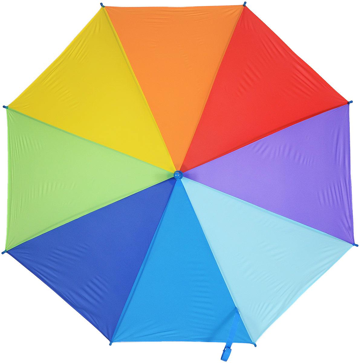 Зонт женский Эврика Радуга, цвет: зеленый, желтый, синий. 9750497503_голубойСтильный механический зонт Эврика Радуга даже в ненастную погоду позволит вам оставаться стильной и элегантной. Каркас зонта из металла состоит из восьми спиц, оснащен удобной рукояткой. Купол зонта выполнен из прочного поливинилхлорида. Закрытый купол фиксируется хлястиком на кнопке.