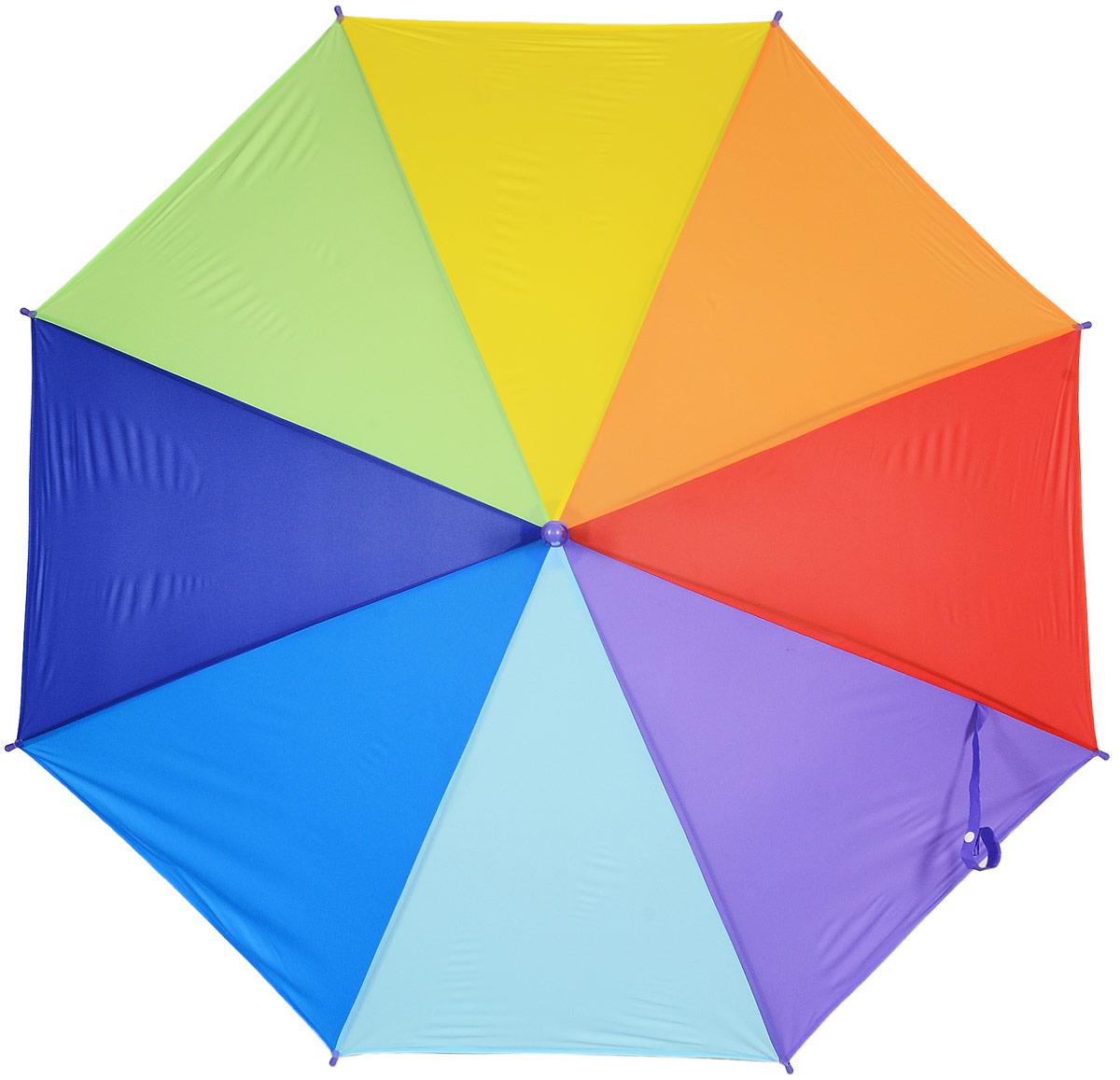 Зонт женский Эврика Радуга, цвет: зеленый, желтый, синий. 9750397503_фиолетовыйСтильный механический зонт Эврика Радуга даже в ненастную погоду позволит вам оставаться стильной и элегантной. Каркас зонта из металла состоит из восьми спиц, оснащен удобной рукояткой. Купол зонта выполнен из прочного поливинилхлорида. Закрытый купол фиксируется хлястиком на кнопке.