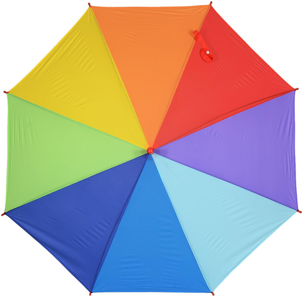 Зонт женский Эврика Радуга, цвет: зеленый, желтый, синий. 9750397503_красныйСтильный механический зонт Эврика Радуга даже в ненастную погоду позволит вам оставаться стильной и элегантной. Каркас зонта из металла состоит из восьми спиц, оснащен удобной рукояткой. Купол зонта выполнен из прочного поливинилхлорида. Закрытый купол фиксируется хлястиком на кнопке.