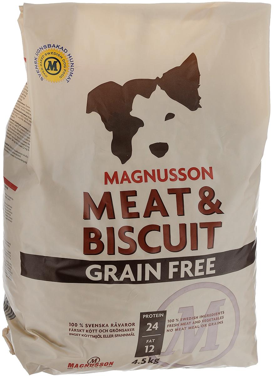 Корм сухой Magnusson Grain Free, для взрослых собак, 4,5 кгF250450-2Сухой корм Magnusson Grain Free - это полноценное, сбалансированное, богатое по составу питание, в котором нет злаков. Источником животного белка является филейная часть говядины (44% свежего мяса) без добавления мясной, рыбной, куриной муки или субпродуктов. В составе Grain Free есть свежие куриные яйца, как источник всех незаменимых аминокислот и свежая морковь, которая является отличным источником витамина А, регулирует углеводный обмен и оказывает положительное воздействие на работу пищеварительной системы вашей собаки. Источники углеводов - картофель, который улучшает обмен веществ, а также богат минеральными веществами, благотворно влияющими на пищеварительную систему и горох, который является уникальным источником углеводов, улучшает моторику кишечника. Черника, так же входящая в состав Grain Free, богата антиоксидантами, витаминами А, К и С, фосфором, кальцием, калием и полезна для здоровья глаз и мозга собаки. А в ягодах брусники большое количество полезных витаминов....