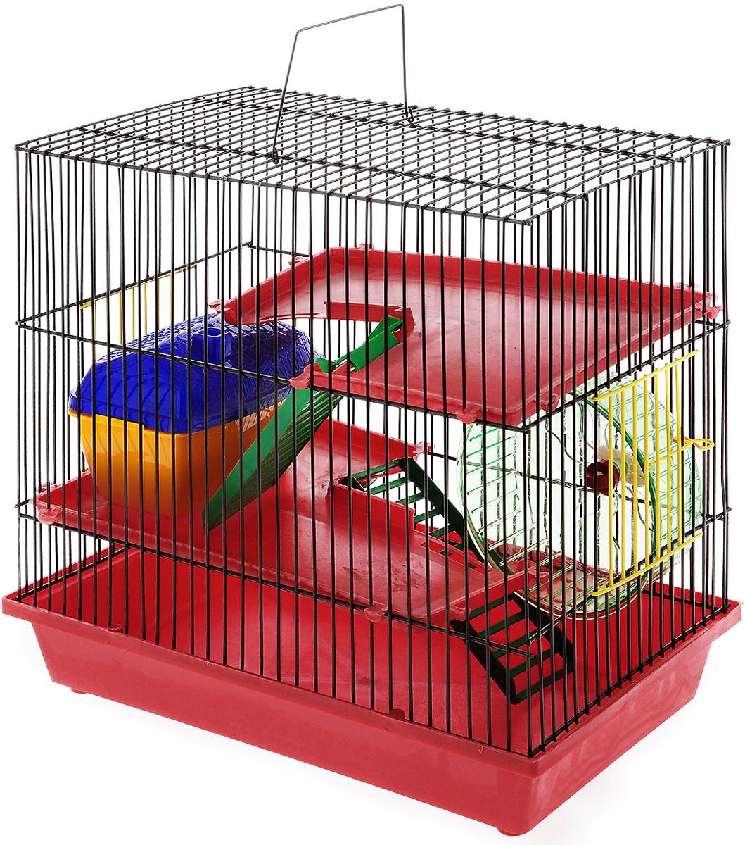 Клетка для грызунов ЗооМарк, 3-этажная, цвет: красный поддон, коричневая решетка, 36 х 22,5 х 34 см135_красный, коричневыйКлетка ЗооМарк, выполненная из полипропилена и металла, подходит для мелких грызунов. Изделие трехэтажное, оборудовано колесом для подвижных игр и пластиковым домиком. Клетка имеет яркий поддон, удобна в использовании и легко чистится. Сверху имеется ручка для переноски, а сбоку удобная дверца. Такая клетка станет уединенным личным пространством и уютным домиком для маленького грызуна.