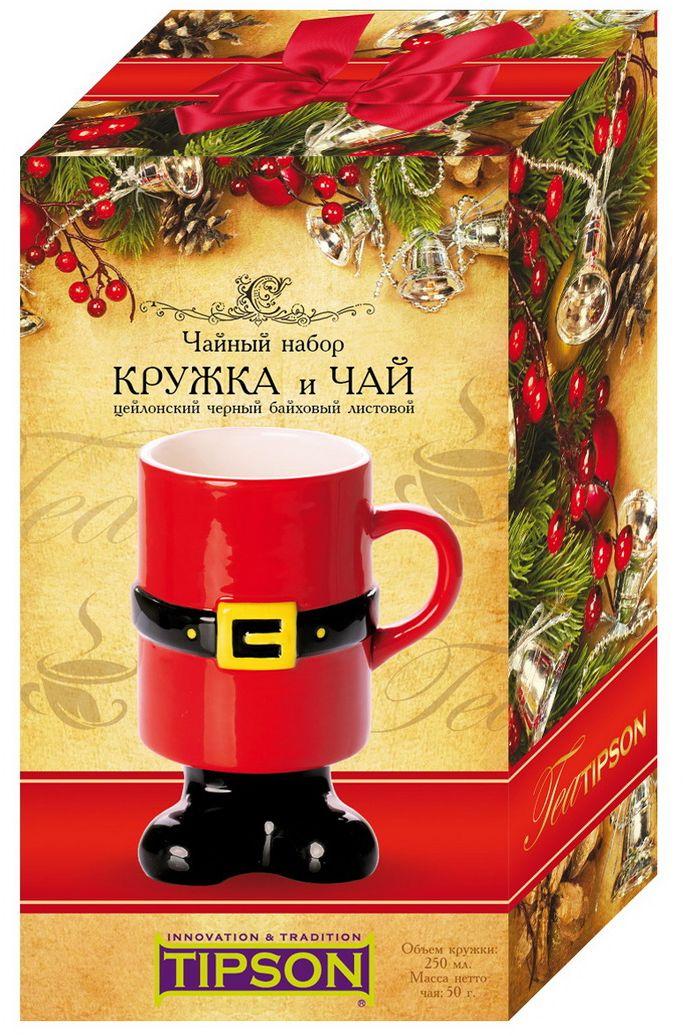 Tipson Люкс № 3.1 Дед мороз черный листовой чай, 50 г + керамическая кружка 250 мл10078-00Праздничный набор TIPSON Империал I изготовлен из дизайнерского картона , включает в себя бережно упакованную элегантную кружку из стекла с двойным дном и упаковку Цейлонского черного чая TIPSON. Набор идеально подойдет настоящим ценителям классического черного чая и согреет душу уютными семейными вечерами.
