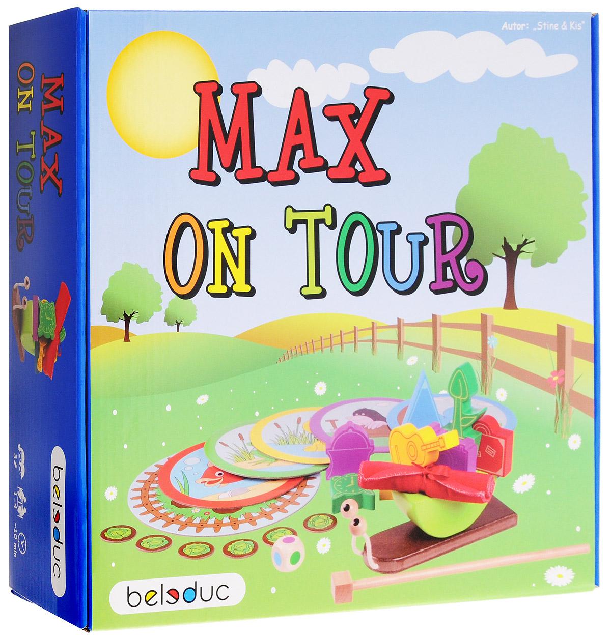 Beleduc Обучающая игра Путешествие Макса21003Маленькая улитка Макс хочет познать большой мир. Поэтому в одно прекрасное утро он покидает свой прекрасный сад и отправляется в долгое путешествие. В пути он знакомится с множеством новых друзей и получает много-много подарков… больших и маленьких, тяжелых и легких, круглых и угловатых. Конечно, Максу хотелось бы принести все эти подарки побыстрее домой, пока гусеница Рози ест салат. Но как же это сделать? Цель Макса, и, соответственно, всех игроков - принести домой на своей раковине по крайней мере один подарок соответствующего цвета от каждого из своих друзей, прежде чем гусеница Рози съест салат. Игра развивает познавательные, ассоциативные навыки, способности комбинировать, способности логического и образного мышления, развивает мелкую моторику рук. Кроме того игра способствует развитию социальных навыков.