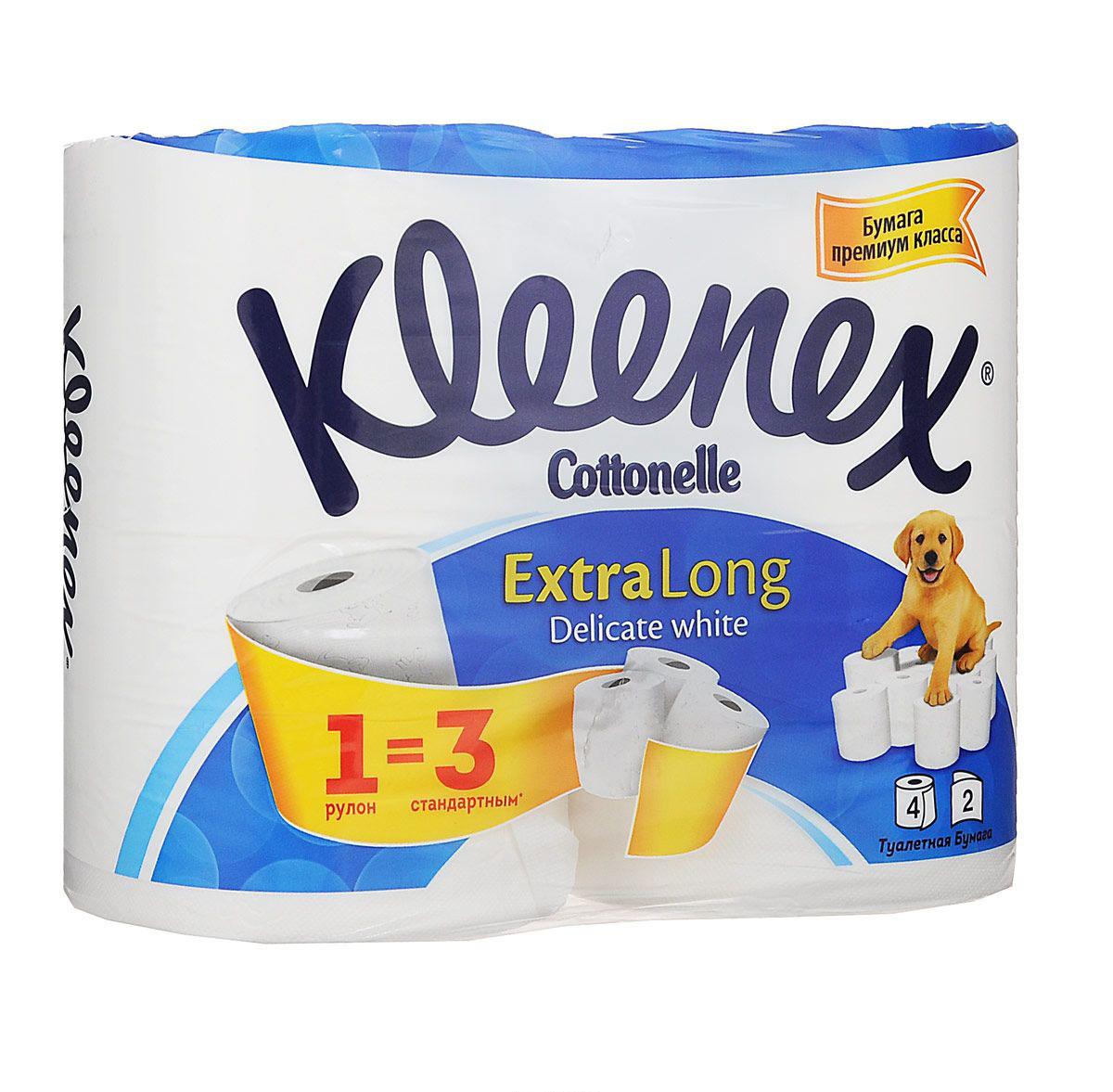 Kleenex Cottonelle Туалетная бумага Extra Long, двухслойная, цвет: белый, 4 рулона9450044Туалетная бумага Kleenex Cottonelle Extra Long изготовлена из целлюлозы высшего качества. Двухслойные листы белого цвета имеют рисунок с тиснением. Мягкая, нежная, но в тоже время прочная, бумага не расслаивается и отрывается строго по линии перфорации. Характеристики: Материал: 100% целлюлоза. Цвет: белый. Количество рулонов: 4 шт. Количество листов в рулоне: 488. Количество слоев: 2. Размер листа: 9,6 см х 11,3 см. Размер упаковки: 25 см х 13 см х 19,5 см. Артикул: 9450044. Производитель: Венгрия. Товар сертифицирован. Уважаемые клиенты! Обращаем ваше внимание на измененный дизайн упаковки. Комплектация осталась без изменений.