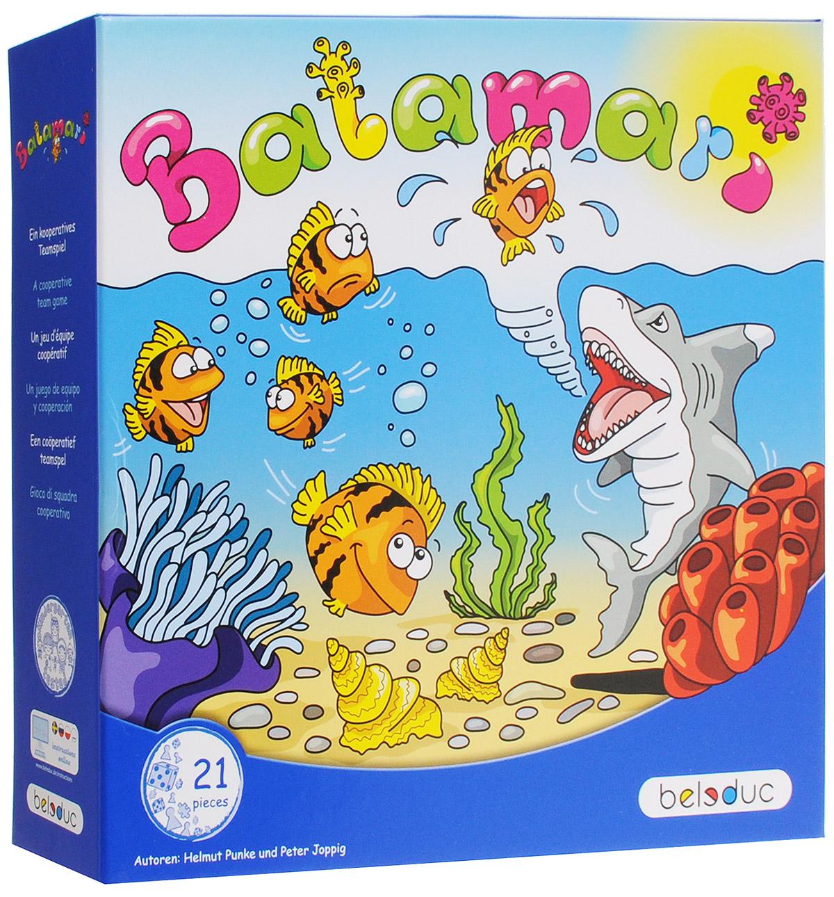 Beleduc Обучающая игра Баламари22706Только посмотрите, что здесь происходит! Веселые рыбки отправляются в путешествие, чтобы открыть для себя море. На пути они встречают много разноцветных коралловых рифов, моллюсков и других морских обитателей. Но им нужно беречься голодной акулы. Она очень любит прятаться в темных водорослях, чтобы высматривать вкусных рыбок. Чтобы ускользнуть от акулы, прежде всего, нужны ловкость, хорошая координация и умение действовать сообща. Игроки пытаются сделать так, чтобы рыбки попали в четыре разноцветные лунки на покрывале. Рыбки не должны попасть в черные лунки. Если это все-таки случится, их съест акула. Кто собрал больше всего рыбок после четырех попыток? Вы или акула? Сначала нужно расправить покрывало на полу. Четыре картонные карточки раскладываются лицевой стороной вниз. На каждой из них нарисована точка, цвет которой совпадает с цветом одной из лунок на покрывале. Также нужно заранее подготовить 16 деревянных рыбок и коробку с наклейкой-акулой. Затем выбираются два участника...
