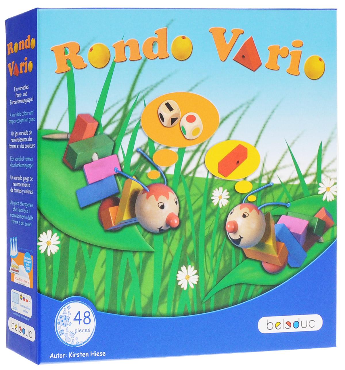 Beleduc Обучающая игра Рондо Варио 2239122391Обучающая игра Beleduc Рондо Варио, в которую можно играть самыми разными способами, понравится как малышам, так и детям постарше. В процессе игры малыши развивают мелкую моторику, а дети постарше - быстроту реакции. Игроки также изучают цвета и формы. Маленькие гусеницы очень взволнованы, ведь сегодня им предстоит примерить новые разноцветные наряды. Выбор очень велик, ведь перед ними так много различных цветов и форм! Так непросто выбрать из такого изобилия! И вот гусеницы решают бросить кость, чтобы выбрать себе новый наряд. Одна часть наряда присоединяется к другой, в зависимости от того, как упадут две кости. Перед тем как выбрать элемент, будьте внимательны: важно подобрать правильную форму и правильный цвет. Игру начинает младший игрок, выбрасывая две кости. Одна кость указывает цвет, а другая - геометрическую фигуру. Игрок должен найти точное соответствие выпавшим значениям на столе: например, если выпал желтый цвет и круг, игрок должен найти на столе желтый шарик....