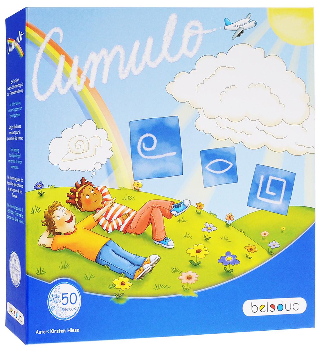 Beleduc Обучающая игра Кумуло22325Обучающая игра Beleduc Кумуло - увлекательная настольная игра для детей в возрасте от 4 лет. В процессе игры дети изучают геометрические фигуры на примере облаков различных форм. Хорошее зрительное восприятие поможет игрокам искать и узнавать различные фигуры. Включив воображение, можно увидеть в простых формах удивительные предметы и придумать о них истории. Игра способствует развитию фантазии. Наступил замечательный летний день. Кругом голубое небо. Но вдруг неожиданно собираются тучи. Начинается сильный дождь и штормовой ветер. К счастью, ураган вскоре утихает и когда начинает светить солнце, появляется радуга. Дети выбегают на улицу. Они смотрят на причудливые формы облаков и распознают в них удивительные предметы. На картонных карточках изображены формы, которые нужно воспроизвести с помощью цепи. Остальные игроки ищут соответствующие формы на деревянных карточках. Тот, кто найдет первым, забирает карточку себе. В зависимости от версии игры, человек, который...