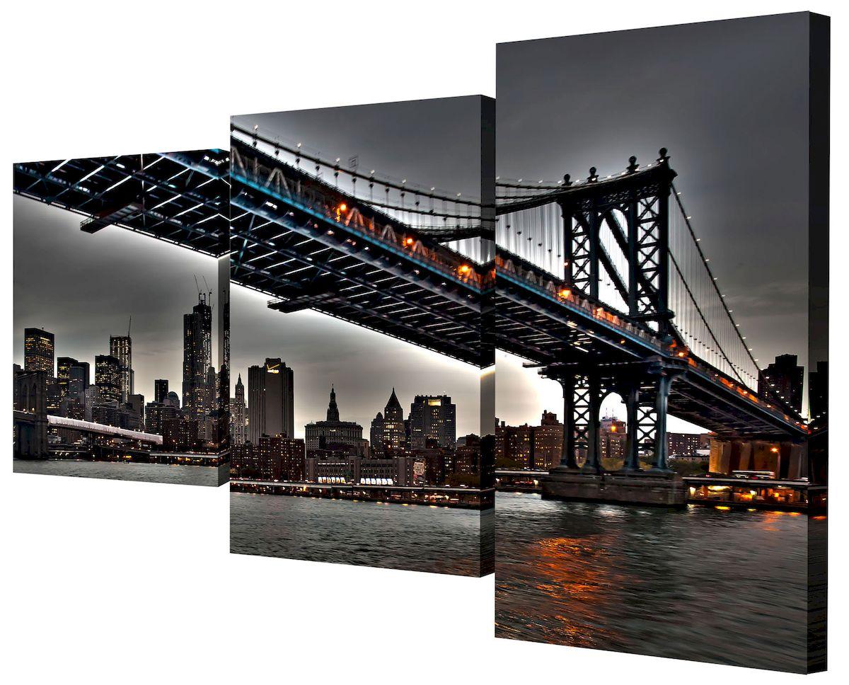 Картина модульная Toplight Город, 50 х 78 см. TL-MM1057TL-MM1057Модульная картина Toplight Город выполнена из синтетического полотна, подрамник из МДФ. Картина состоит из трех частей и выглядит очень аккуратно и эстетично благодаря такому способу оформления как галерейная натяжка. Подрамник исключает провисание полотна. Современные технологии, уникальное оборудование и цифровая печать, используемые в производстве, делают постер устойчивым к выцветанию и обеспечивают исключительное качество произведений. Благодаря наличию необходимых креплений в комплекте установка не займет много времени. Модульная картина - это прекрасная возможность создать яркий акцент при оформлении любого помещения. Изделие обязательно привлечет внимание и подарит немало приятных впечатлений своим обладателям. Правила ухода: можно протирать сухой, мягкой тканью. Размеры модулей: 26 х 31 см, 26 х 50 см, 26 х 40 см. Рекомендованное расстояние между сегментами: 1 см. Толщина подрамника: 2 см.