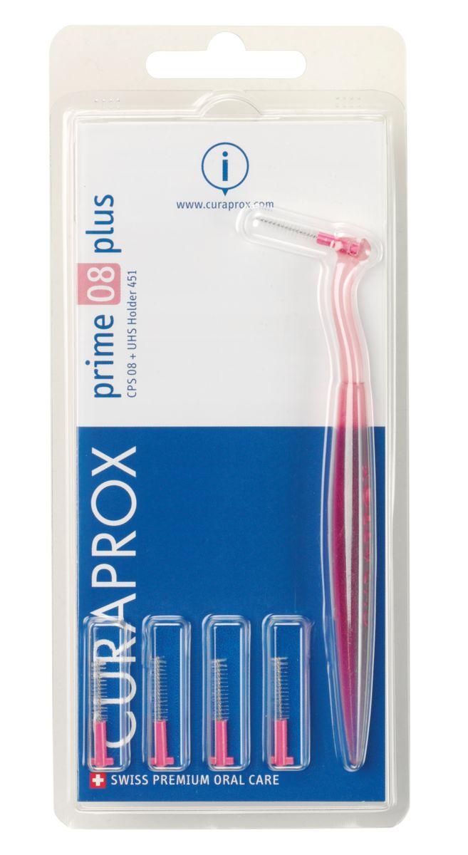 Curaprox CPS 08 Prime PLUS Ершик межзубный 0,8 мм (5 шт), розовый + UHS 451 розовый держатель