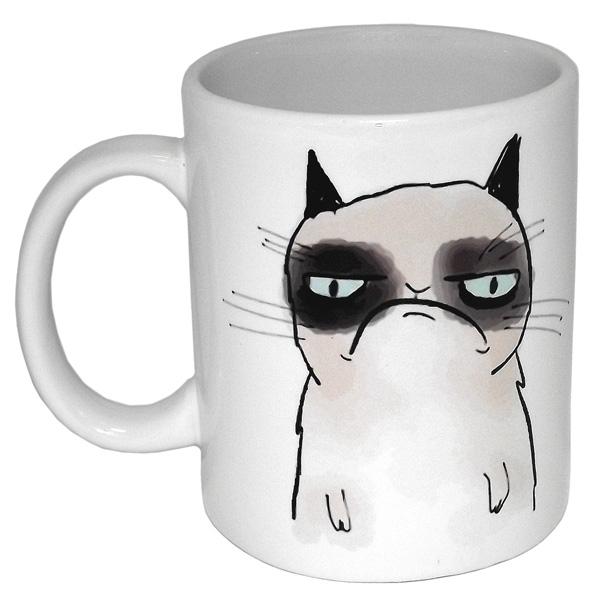 Кружка Эврика Грустный кот, цвет: белый94832Кружка Эврика Грустный кот выполнена из белой качественной керамики и оформлена изображением печального кота. Изделие оснащено эргономичной ручкой. Кружка сочетает в себе оригинальный дизайн и функциональность.