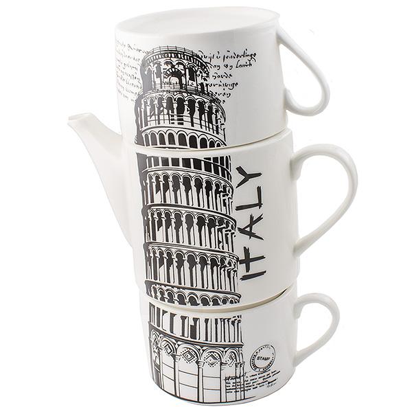 Чайник Эврика Италия, с двумя кружками97458Не каждый сразу догадается, что керамическая башня на вашей кухне на самом деле представляет собой чайный сет. Чайник и две чашки, составленные пирамидкой, воспроизводят изображения знаменитых высоких достопримечательностей разных стран - башен, статуй, колоколен. Оригинальный дизайн и компактность - очевидные достоинства набора. Упаковка: картонная коробка Материал: керамика