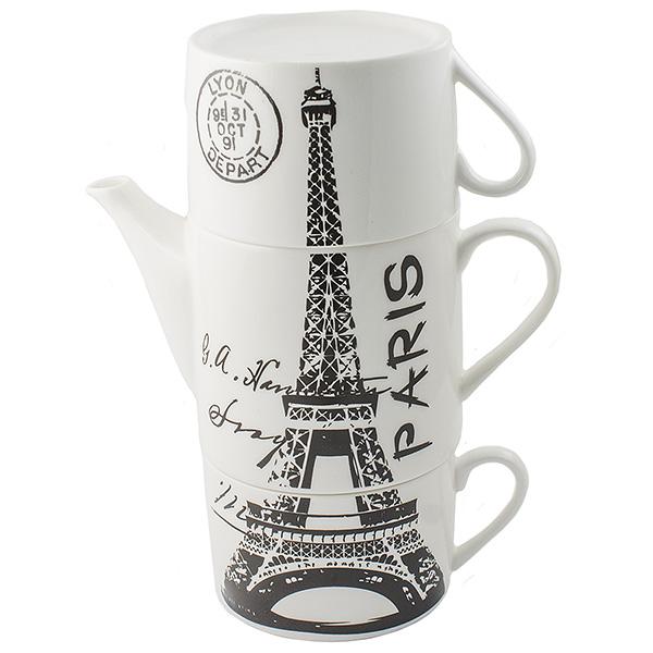 Чайник Эврика Париж, с двумя кружками97459Не каждый сразу догадается, что керамическая башня на вашей кухне на самом деле представляет собой чайный сет. Чайник и две чашки, составленные пирамидкой, воспроизводят изображения знаменитых высоких достопримечательностей разных стран - башен, статуй, колоколен. Оригинальный дизайн и компактность - очевидные достоинства набора. Упаковка: картонная коробка Материал: керамика