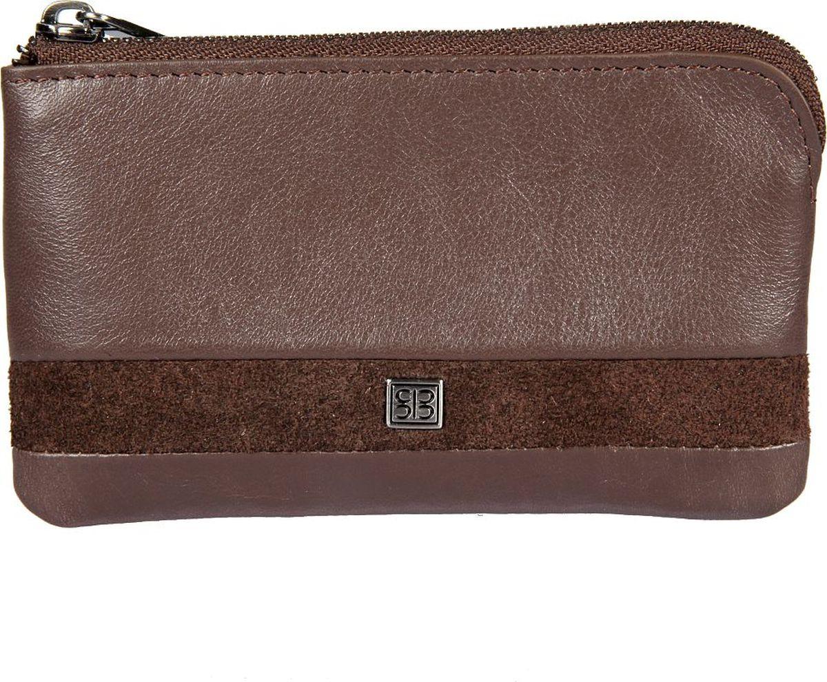 Ключница мужская Sergio Belotti, цвет: коричневый. 359359 novara cioccolatoзакрывается на молнию внутри два кольца для ключей снаружи карман для мелочи на молнии