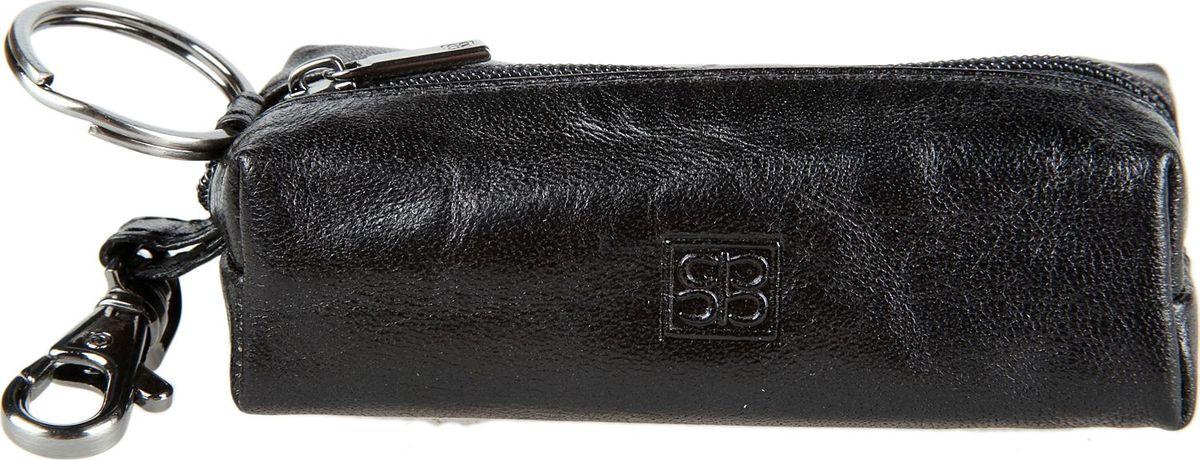 Ключница мужская Sergio Belotti, цвет: черный. 109109 milano blackзакрывается на молнию внутри одно кольцо для ключей снаружи карабин
