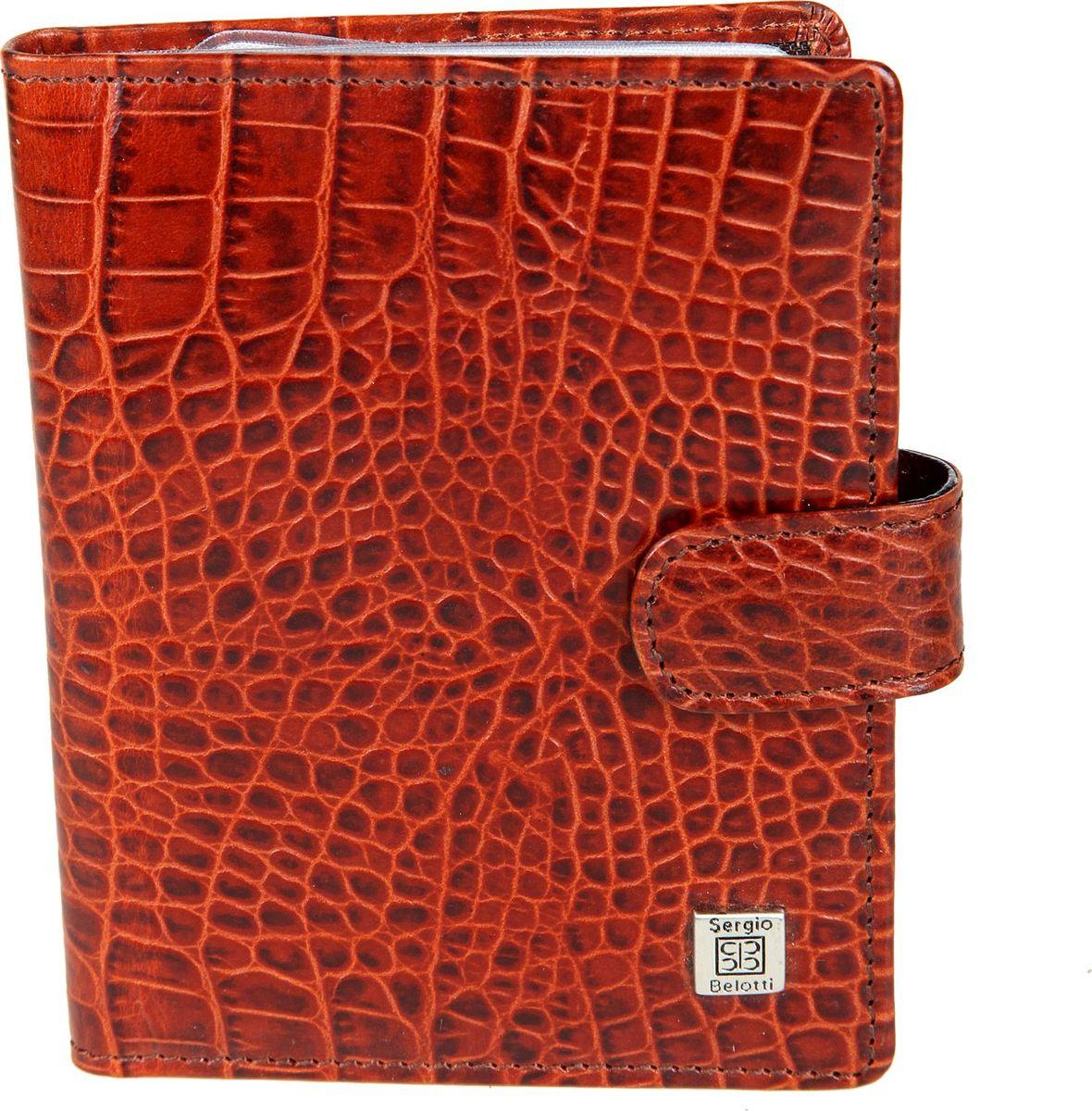 Обложка для автодокументов женская Sergio Belotti, цвет: коричневый. 27052705 modena cognacзакрывается клапаном на кнопке, раскладывается пополам внутри блок прозрачных файлов (шесть листов, один из них формата А5), для автодокументов (водительского удостоверения, техпаспорта, талон ТО, доверенности и т.п.) на внутренней стороне обложки три кармана для пластиковых карт отделение для документов, сетчатый карман