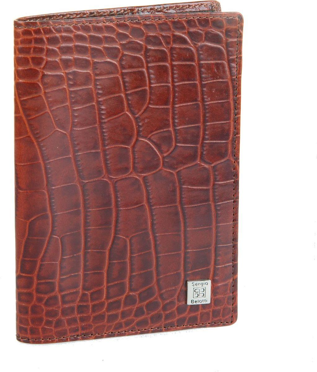 Обложка для паспорта женская Sergio Belotti, цвет: коричневый. 24642464 modena cognacраскладывается пополам внутри левое поле кожа (ширина 7 см) правое поле сетка (ширина 4 см) один карман для документов и карман для sim- карты