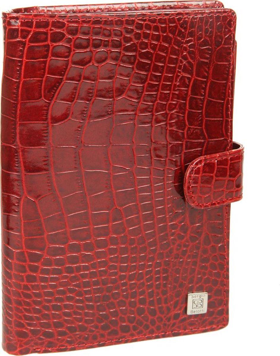 Портмоне женское Sergio Belotti, цвет: красный. 23342334 modena redзакрывается клапаном на кнопке внутри два отделения для купюр потайной карман на молнии одиннадцать кармашков для пластиковых карт, один из них в сеточку шесть кармашков для документов обложка для паспорта размер 10,5 см x 14 см x 2 см внутренняя сторона обложки левое поле пластик (ширина 5 см) правое поле натуральная кожа (ширина 6,5см) на внутренней стороне обложки три кармашка для документов