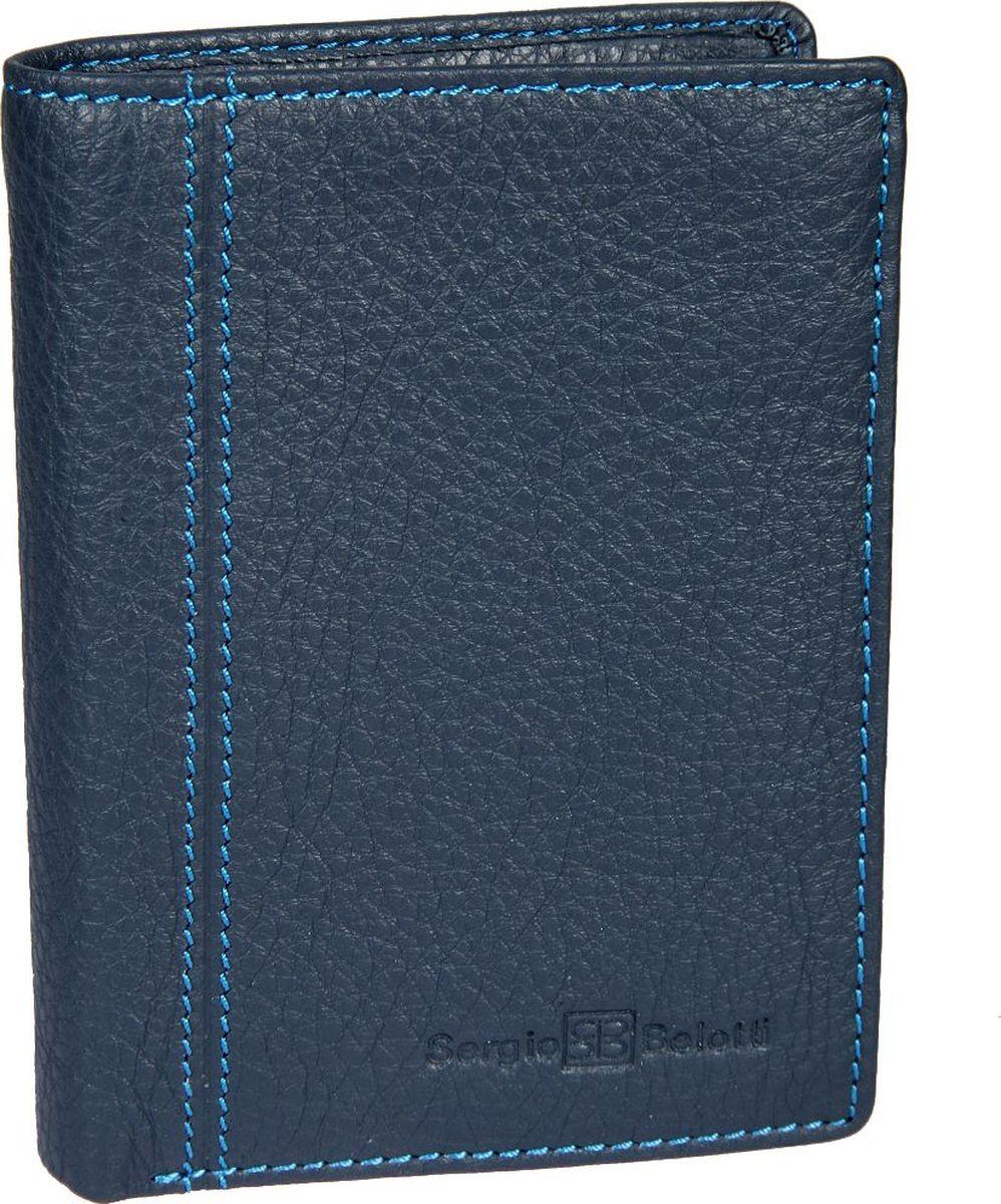 Портмоне мужское Sergio Belotti, цвет: синий. 14221422 indigo jeansраскладывается пополам внутри два отделения для купюр отделение для мелочи на кнопке пять потайных кармашков для документов (один из них закрывается на молнию) шесть кармашков для пластиковых карт один кармашек для пропуска в сеточку