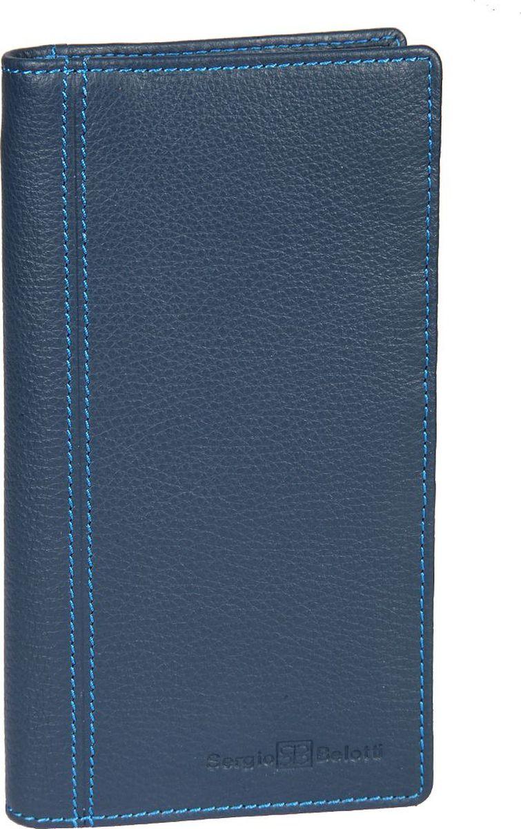 Бумажник мужской Sergio Belotti, цвет: синий. 14621462 indigo jeansМужской бумажник Sergio Belotti раскладывается пополам. Внутри два отдела для купюр, два потайных кармашка, один из них на молнии, отделение для мелочи, закрывающееся клапаном на кнопке, восемь кармашков для пластиковых карт, кармашек для sim-карты.