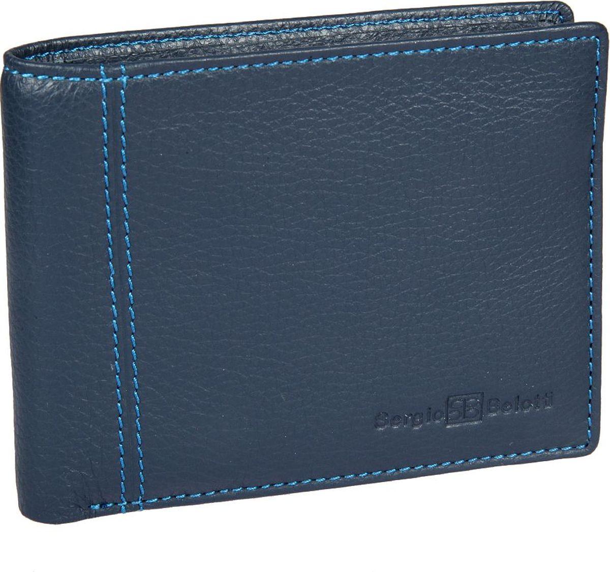 Портмоне мужское Sergio Belotti, цвет: синий. 27662766 indigo jeansМужское портмоне Sergio Belotti выполнено из натуральной кожи. Модель раскладывается пополам, внутри два отделения для купюр, три потайных кармана, семь кармашков для пластиковых карт, оснащен съемным вкладышем, на котором пять кармашков для пластиковых карт, два из них в сетку.