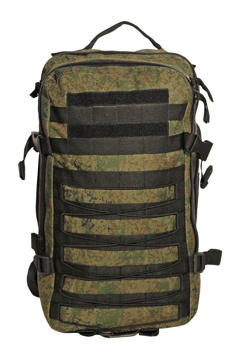 Рюкзак тактический Woodland Armada - 1, цвет: камуфляж, 30 л58052Тактические рюкзаки идеально подойдут для охоты и рыбалки, туристических путешествий, походов. Рюкзаки изготовлены из высококачественной ткани Oxford 600 с пропиткой для защиты от проникновения влаги. Вместительность модели регулируется компрессионными боковыми ремнями на фастексах. Плотная спинка с мягкими вставками Airmesh и длина плечевых ремней обеспечивают комфорт и равномерное распределение нагрузки. Особенности: - два вместительных отделения - компрессионные утяжки по бокам и снизу - боковые карманы - поясной ремень для распределения нагрузки. Объем 30 л. Цвет: камуфляж цифра Материал: полиэстер 100%