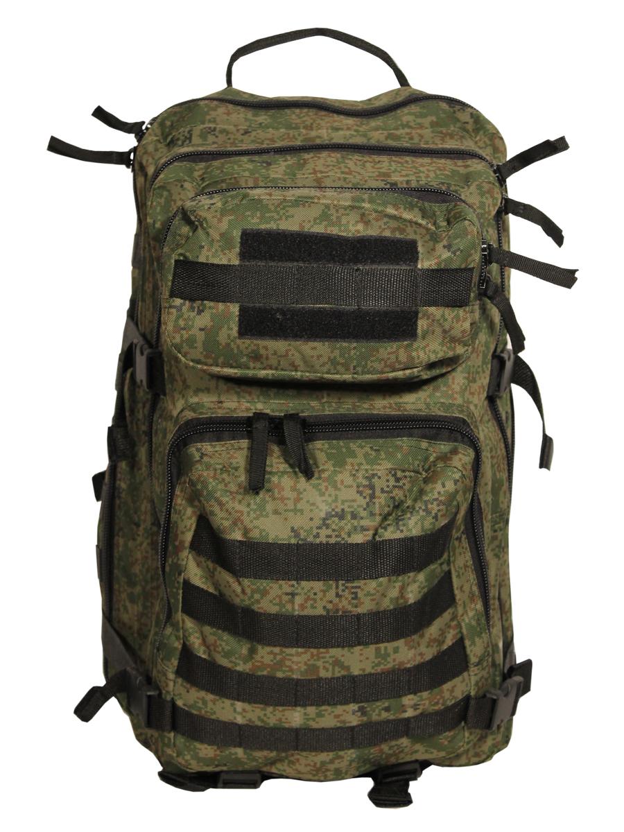 Рюкзак тактический Woodland Armada - 3, цвет: камуфляж, 40 л58054Тактические рюкзаки идеально подойдут для охоты и рыбалки, туристических путешествий, походов. Рюкзаки изготовлены из высококачественной ткани Oxford 600 с пропиткой для защиты от проникновения влаги. Вместительность модели регулируется компрессионными боковыми ремнями на фастексах. Плотная спинка с мягкими вставками Airmesh и длина плечевых ремней обеспечивают комфорт и равномерное распределение нагрузки. Особенности: - два вместительных отделения - компрессионные утяжки по бокам и снизу - поясной ремень для распределения нагрузки. - два небольших отделения для мелочей. Объем 40 л. Цвет: камуфляж цифра Материал: полиэстер 100%