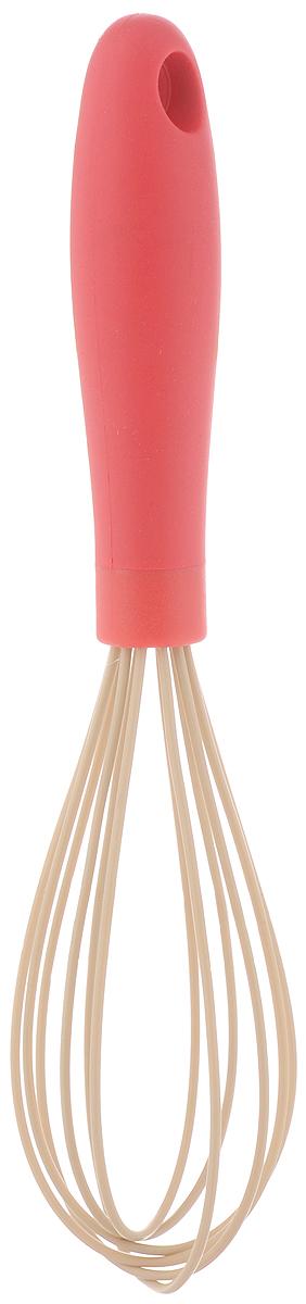 Венчик White Fox Elegance Red, цвет: красный, длина 26 смWKWH24-010Венчик White Fox Elegance Red изготовлен из высококачественного термопластичной резины и силикона. Предназначен для взбивания и обработки холодных и горячих блюд в посуде с антипригарным покрытием, в посуде из полированной нержавеющей стали, фарфора, керамики. Не повреждает поверхность. Удобная ручка не позволит выскользнуть венчику из вашей руки, сделает приятным процесс приготовления любого блюда. На ручке имеется петелька, за которую изделие можно подвесить в любом удобном для вас месте. Практичный и удобный венчик White Fox Elegance Red займет достойное место среди аксессуаров на вашей кухне. Можно мыть в посудомоечной машине. Длина венчика: 26 см. Размер рабочей поверхности: 5 х 5 х 13,5 см.