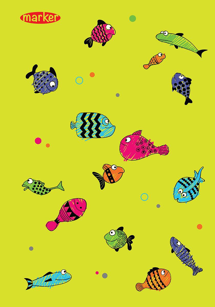 Marker Тетрадь Рыбы 100 листов в клеткуM-1100510N-1Тетрадь на спирали Marker Рыбы отлично подойдет для различных записей. Дизайнерская обложка выполнена из высококачественного картона. Внутренний блок состоит из 100 листов в клетку.