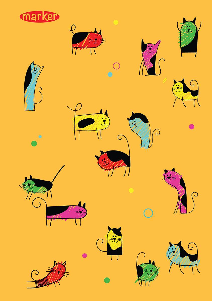 Marker Тетрадь Кошки 100 листов в клеткуM-1100510N-4Общая тетрадь с дизайнерской обложкой