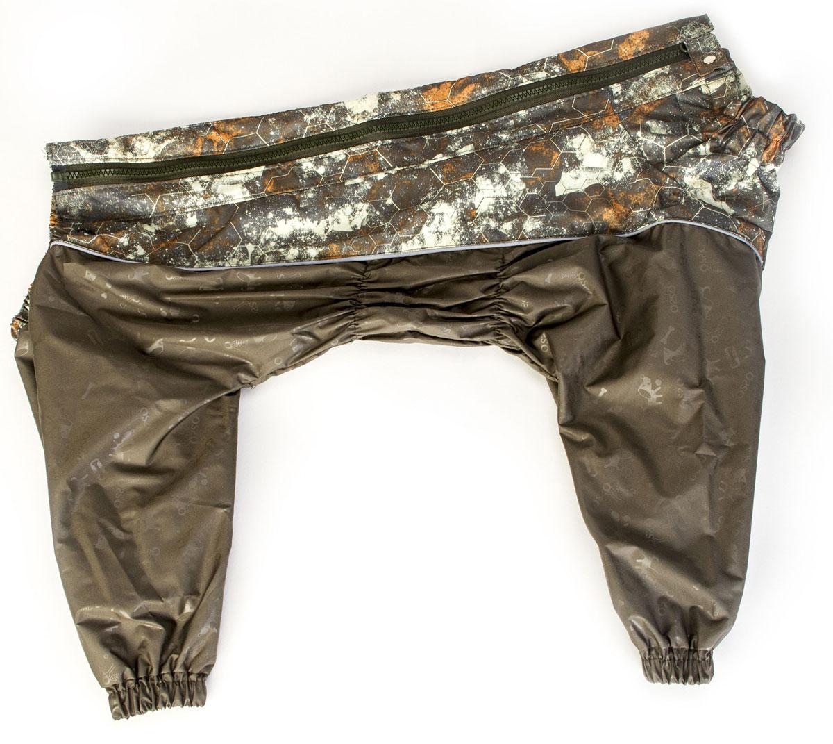 Комбинезон для собак Osso Fashion, для мальчика, цвет: хаки. Размер 60К-1028-хаки-вставкаКомбинезон для собак без подкладки из водоотталкивающей и ветрозащитной ткани (100% полиэстер). Предназначен для прогулок в межсезонье, в сырую погоду для защиты собаки от грязи и воды. В комбинезоне используется отделка со светоотражающим кантом и тракторная молния со светоотражающей полосой. Комбинезон для собак эргономичен, удобен, не сковывает движений собаки при беге, во время игры и при дрессировке. Комфортная посадка по корпусу достигается за счет резинок-утяжек под грудью и животом. На воротнике имеется кнопка для фиксации. От попадания воды и грязи внутрь комбинезона низ штанин также сборен на резинку. Рекомендуется машинная стирка с использованием средства для стирки деликатных тканей при температуре не выше 40?С и загрузке барабана не более чем на 40% от его объема, отжим при скорости не более 400/500 об/мин, сушка на воздухе – с целью уменьшения воздействия на водоотталкивающую (PU) пропитку ткани. Рекомендации по подбору размера: Размер подбирается по длине спины собаки....