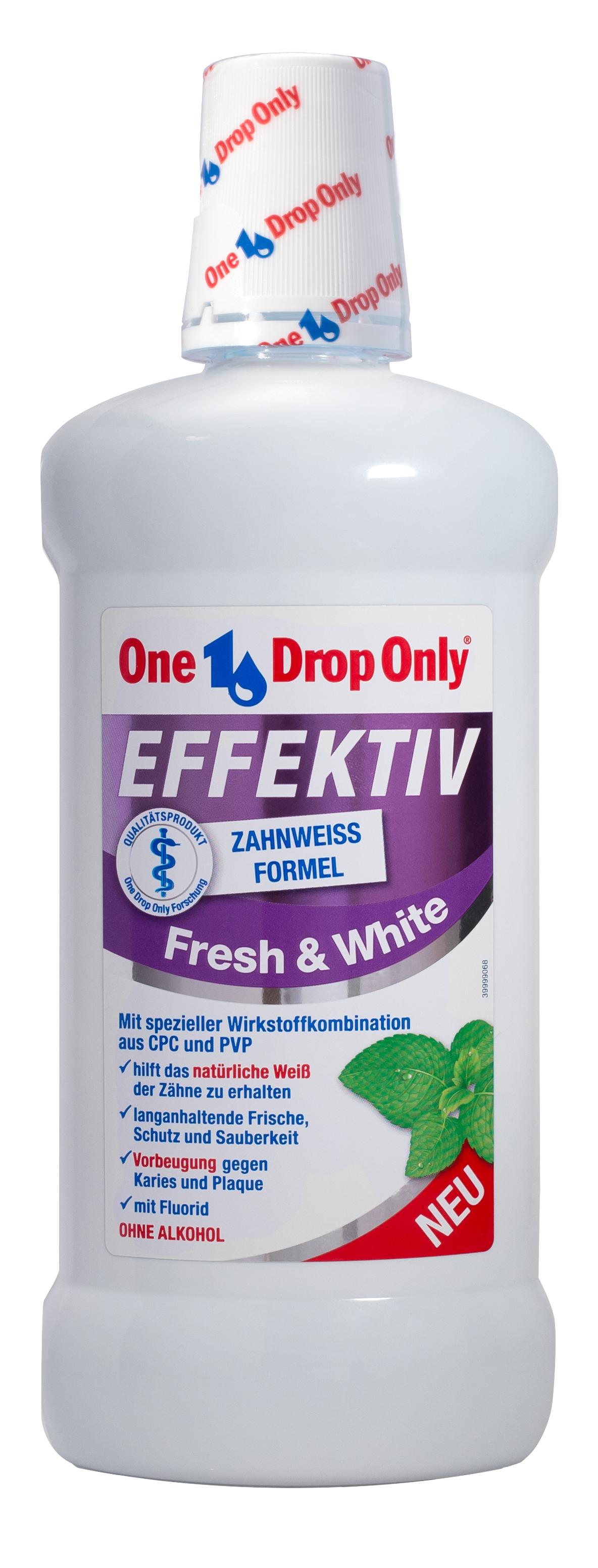 One Drop Only Effektiv Fresh&White Антибактериальный ополаскиватель полости рта, 500 мл20000Отбеливающий и освежающий ополаскиватель полости рта