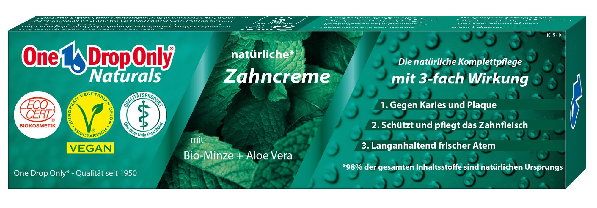 One Drop Only Effektiv Зубная паста Naturals с био-мятой + алоэ вера, 98% натурального сырья 75ml70000Зубная паста Naturals с био-мятой + алоэ вера, 98% натурального сырья
