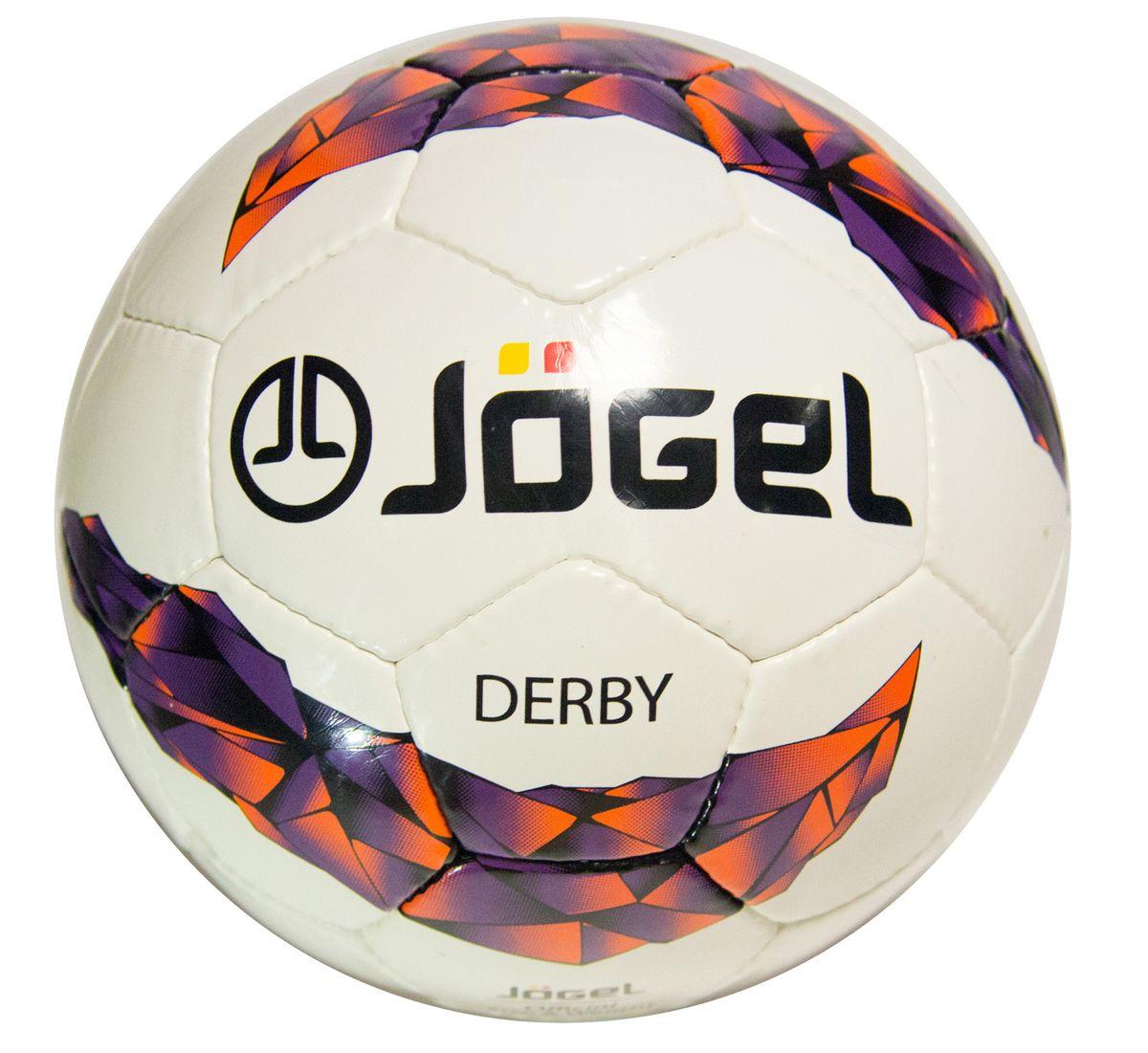 """Мяч футбольный Jogel """"Derby"""", цвет: белый, сиреневый, оранжевый, черный. Размер 4. JS-500 УТ-00009475"""