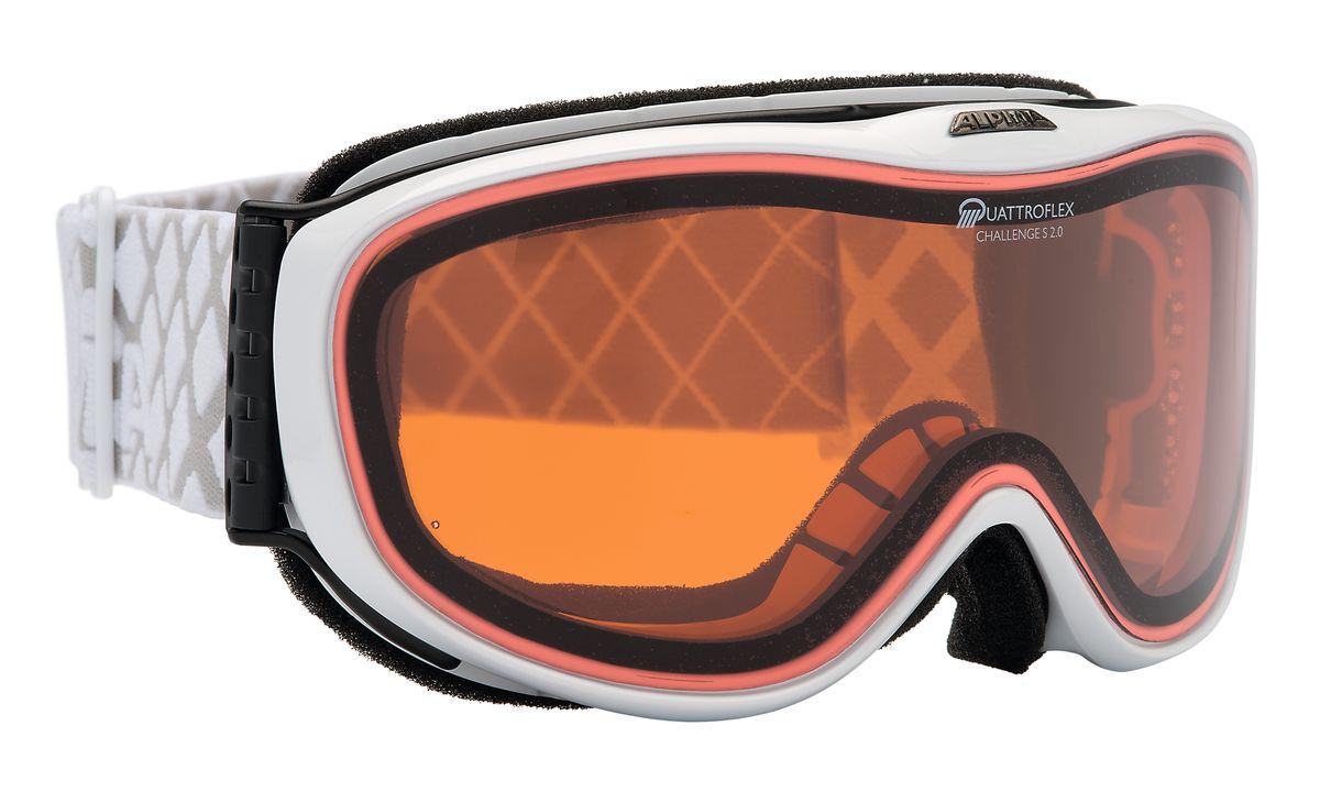 Очки горнолыжные Alpina Challenge S 2.0, цвет: белый. 7220_117220_11Лёгкая и очень удобная горнолыжная маска с отличным обзором. Уменьшенная версия популярной модели Alpina Challenge 2.0! В маске используется двойная поляризованная линза Quattroflex, которая эффективно приглушает блики отраженного от снега и льда света. Добавленный в линзу оранжевый пигмент делает восприятие склона более контрастным. Всё это позволяет гораздо лучше видеть рельеф и быстрее регировать на встречающиеся по линии спуска препятствия. Особенности: • 100% защита от УФ А-В-С до 400 нм • Гибкая и комфортная оправа плотно и равномерно прилегает к лицу • Шарнирные проушины для ремешка позволяют надёжно и комфортно зафиксировать маску на любом, даже очень массивном шлеме • Антифог покрытие снижает риск запотевания маски • На ремешок нанесены полоски из силикона, которые не дают ему скользить по шлему или шапке • По контуру оправы расположены вентиляционные порты • Объём маски позволяет использовать её вместе с корректирующими очками. В уплотнителе предусмотрены углубления для их...