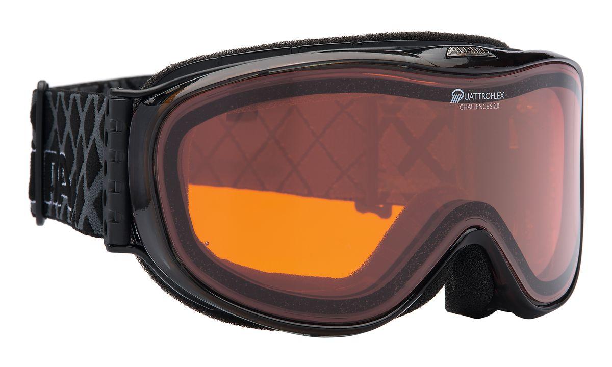 Очки горнолыжные Alpina Challenge S 2.0, цвет: черный. 7220_317220_31Лёгкая и очень удобная горнолыжная маска с отличным обзором. Уменьшенная версия популярной модели Alpina Challenge 2.0! В маске используется двойная поляризованная линза Quattroflex, которая эффективно приглушает блики отраженного от снега и льда света. Добавленный в линзу оранжевый пигмент делает восприятие склона более контрастным. Всё это позволяет гораздо лучше видеть рельеф и быстрее регировать на встречающиеся по линии спуска препятствия. Особенности: • 100% защита от УФ А-В-С до 400 нм • Гибкая и комфортная оправа плотно и равномерно прилегает к лицу • Шарнирные проушины для ремешка позволяют надёжно и комфортно зафиксировать маску на любом, даже очень массивном шлеме • Антифог покрытие снижает риск запотевания маски • На ремешок нанесены полоски из силикона, которые не дают ему скользить по шлему или шапке • По контуру оправы расположены вентиляционные порты • Объём маски позволяет использовать её вместе с корректирующими очками. В уплотнителе предусмотрены углубления для их...