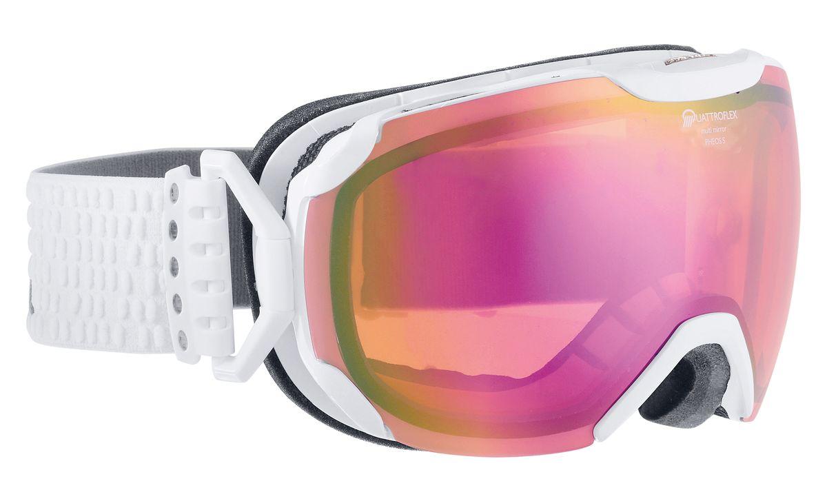 Очки горнолыжные Alpina Pheos S, цвет: белый, розовый. 7243_117243_11Уменьшенная версия модели Pheos. Pheos S - это комфортная горнолыжная маска с широким углом обзора выполненная в стильном и функциональном без-оправном дизайне. ДВ маске используется поляризованная двойная линза Quattroflex со стильным зеркальным покрытием Multi Mirrow (MM), которая эффективно приглушает блики отражённого света и защищает глаза от интенсивного освещения. Всё это делает восприятие склона более контрастным и детальным, что позволяет райдеру точнее выбирать линию спуска и быстрее реагировать на возникающие препятствия. Фильтр категории S2 рассчитан на катание в условиях переменной облачности и неяркого солнца. Особенности: • 100% защита от УФ А-В-С до 400 нм • Без-оправный дизайн маски позволил радикально расширить поле зрения райдера без значительного увеличения размеров линзы • Гибкая и комфортная оправа плотно и равномерно прилегает к лицу • Шарнирные направляющие для ремешка позволяют надёжно и комфортно зафиксировать маску на шлеме • Антифог покрытие снижает...
