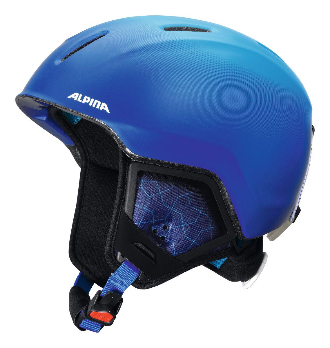 Шлем зимний Alpina Carat Xt, цвет: синий. Размер 51-55. 9080_819080_81Особенности: • Вентиляционные отверстия препятствуют перегреву и позволяют поддерживать идеальную температуру внутри шлема. Для этого инженеры Alpina используют эффект Вентури, чтобы сделать циркуляцию воздуха постоянной и максимально эффективной. • Внутренник шлема легко вынимается, стирается, сушится и вставляется обратно. • Из задней части шлема можно достать шейный утеплитель из мякого микро-флиса. Этот теплый воротник также защищает шею от ударов на высокой скорости и при сибирских морозах. В удобной конструкции отсутствуют точки давления на шею. • Прочная и лёгкая конструкция In-mold Inmould - технология, при которой внутренняя оболочка из EPS (вспененного полистирола) покрыта поликарбонатом. Внешняя тонкая жесткая оболочка призвана распределить энергию от удара по всей площади шлема, защитить внутреннюю часть от проникновения острых осколков и сохранить ее форму. Внутренняя толстая мягкая оболочка демпфирует ударную энергию, предохраняя головной мозг от ударов. Такой шлем...