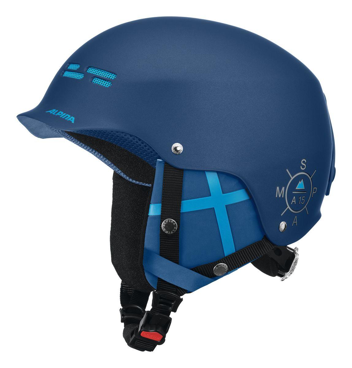 Шлем зимний Alpina Spam Cap, цвет: синий. Размер 54-57. 9033_829033_82HARD SHELL - сочетание ударопрочного внешней оболочки (ABS пластик или поликарбонат) и утепляющей внутренней оболочки (EPS) гарантирует максимальную безопасность. RUN SYSTEM ERGO SNOW – гибкая система настройки шлема, оснащённая удобной ручкой, оснащенная двумя дополнительными подушками-уплотнителями для сокращения давления VENTING SYSTEM – особые вентиляционные отверстия для отведения излишнего тепла и поддержания оптимальной температуры REMOVABLE EARPADS - съемные амбушюры добавляют чувства свободы во время катания в теплую погоду, не в ущерб безопасности. При падении температуры, амбушюры легко устанавливаются обратно на шлем.