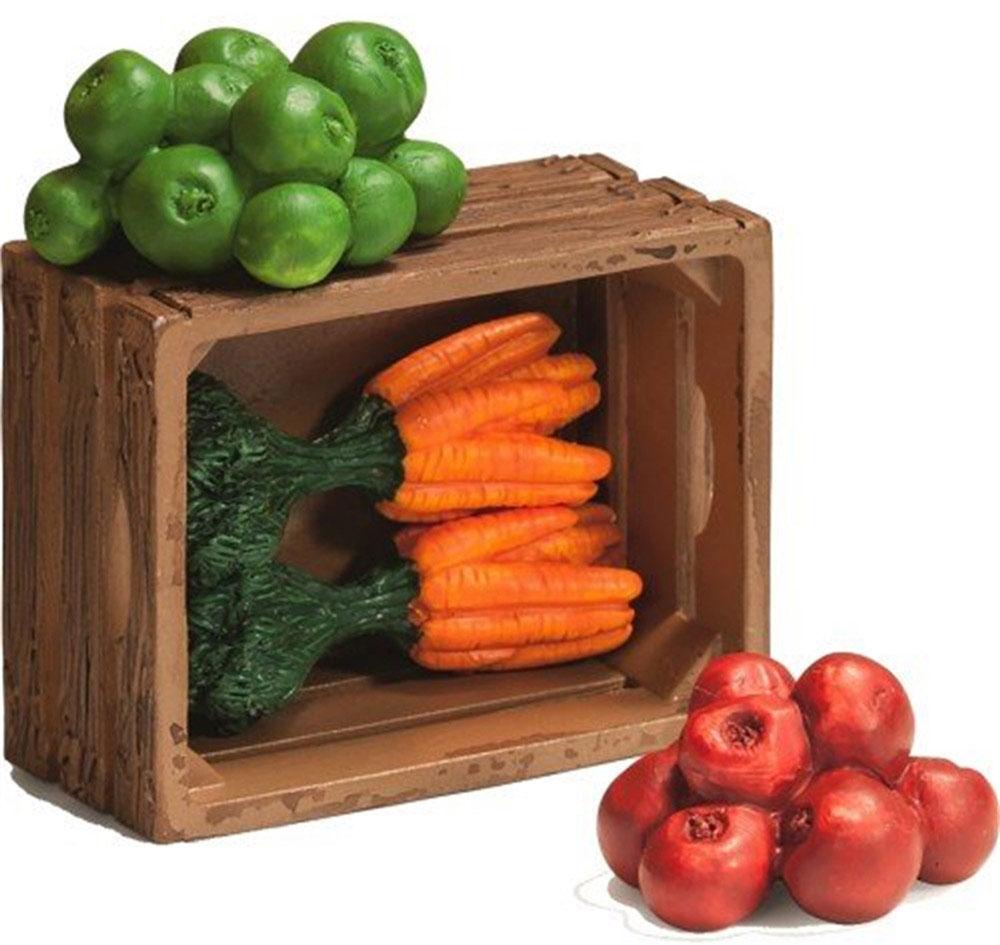 Schleich Игровой набор для кормления животных42115Игровой набор для кормления животных Schleich поможет сделать игру ребенка еще более увлекательной, а жизнь на игрушечной ферме полноценной и удобной. В наборе представлены: ящик для фруктов и овощей, яблоки и морковь. Все игрушки из набора выполнены из качественного каучукового пластика с мельчайшей прорисовкой деталей. Игровые элементы имеют реалистичный внешний вид, приятны на ощупь и позволяют детям играть с большим удовольствием. В процессе манипуляций с миниатюрными игрушками у ребенка развивается мелкая моторика, стимулируются развитие речи, логическое мышление, ребенок знакомится с окружающим миром.