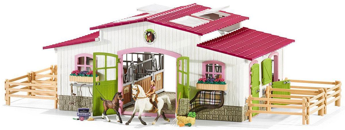 Schleich Игровой набор Центр верховой езды с лошадьми42344Игровой набор Schleich Центр верховой езды с лошадьми с зелеными дверьми и розовыми окошками выглядит просто невероятно! В центре верховой езды имеется все необходимое для любимых лошадок, занятий с ними и ухода за ними: просторные и уютные стойла, разнообразный корм, амуниция для занятий, наборы для ухода за лошадьми, просторные загоны для выгула. Из составляющих конюшни также можно собрать крытую арену для тренировок. Окошки в крыше арены открываются. Новый центр верховой езды непременно понравится и лошадкам, и наездникам. С этим большим набором будет интересно устраивать увлекательные игры с фигурками лошадей. Сюжетно-ролевые игры с фигурками развивают фантазию и воображение ребенка. Красочный набор выглядят невероятно реалистично, выполнен из качественного каучукового пластика, который безопасен для детей. Каждая игрушка выполнена с особенной тщательностью и вниманием к деталям. Игрушки имеют оригинальную текстуру.