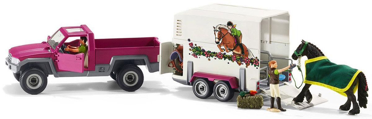 Schleich Игровой набор Пикап с прицепом для лошади42346Игровой набор Schleich Пикап с прицепом для лошади станет отличным подарком для любителей и коллекционеров фигурок лошадей от фирмы Schleich. Этот набор разнообразит варианты сюжетно-ролевых игр с фигурками. Теперь с легкостью можно будет отправиться в путешествие или на соревнования со своей любимой лошадкой. Прицеп для лошади очень красивый и удобный. На нем изображены наездница и лошадь, легко преодолевающие препятствия. В прицепе имеется окошко и разделитель, в нем могут поместиться две лошадки одновременно. Крыша прицепа снимается, и во время остановок на отдых лошадка тоже сможет дышать свежим воздухом и наслаждаться солнышком. В прицепе также находится специальный отсек для хранения необходимых принадлежностей и амуниции. Двери пикапа открываются, за рулем сидит водитель. Прицеп можно отсоединить от пикапа. Колеса у пикапа и прицепа имеют свободный ход. Красочный набор выглядит невероятно реалистично, выполнен из качественного каучукового пластика, который безопасен...