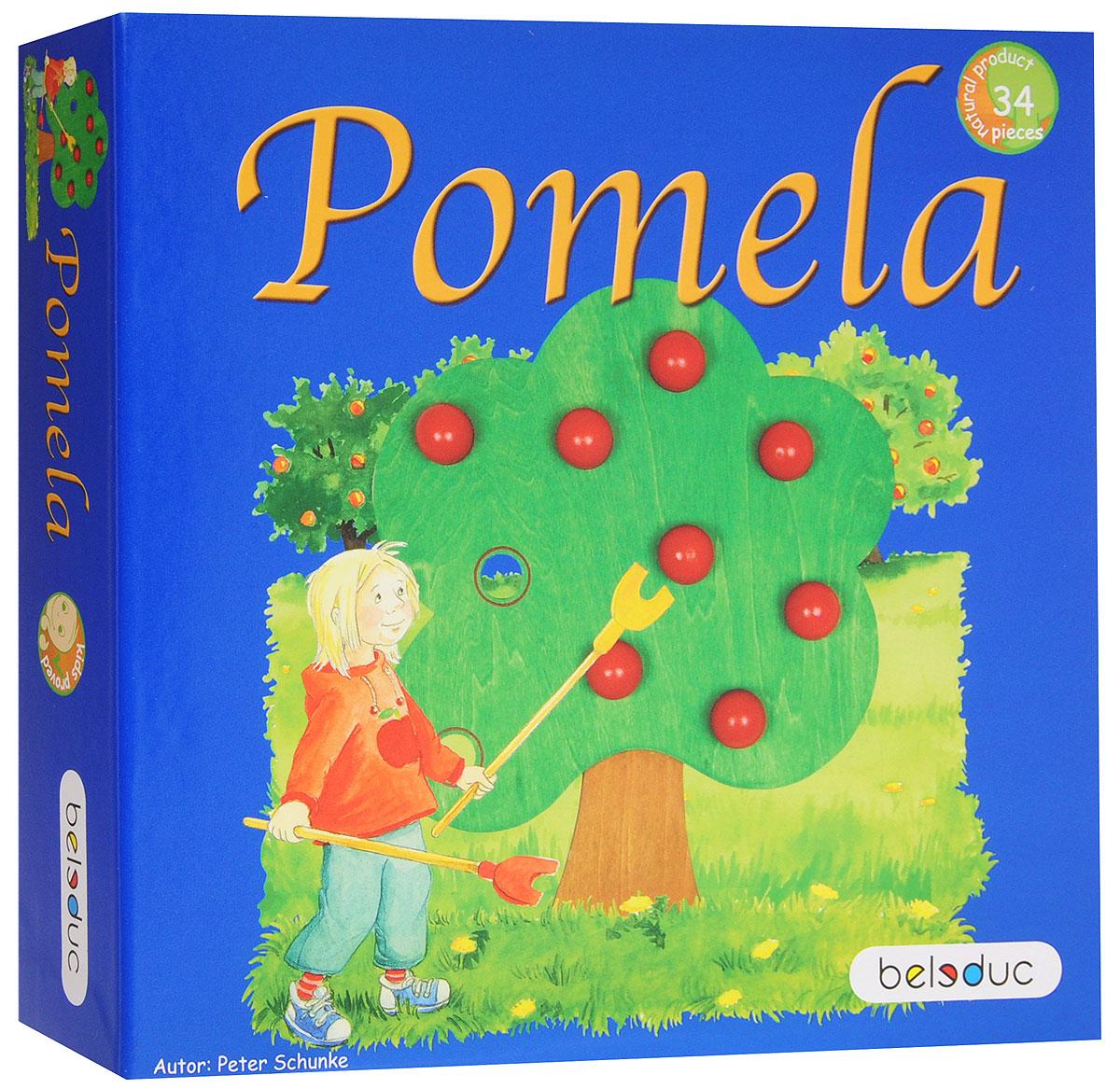Beleduc Обучающая игра Помела22384Обучающая игра Beleduc Помела - это отличное увлечение для детей в возрасте от 4 лет. Сегодня Ким и Энди должны встать очень рано, ведь они вместе со своим дедушкой пойдут на широкий луг на краю деревни. Там растет множество фруктовых деревьев, и , поскольку яблоки за последние несколько дней приобрели темно-красный переливающийся цвет, они созрели для сбора. Дедушка обещал сварить детям вкуснейшее варенье, если они соберут много яблок. Правила игры состоят в том, что игроки собирают яблочки в корзинку с помощью специальных палочек, далее необходимо собрать как можно больше яблок, пока бегут песочные часы. По истечение времени игрок подсчитывает урожай и получает фишки. Победит тот, у кого в конце игры окажется наибольшее количество фишек. Развивающая игра от Beleduc Помела вызовет восторг у вашего ребенка, но и поможет ему развиваться и тренировать мелкую моторику, зрительно-тактильное восприятие, воображение.