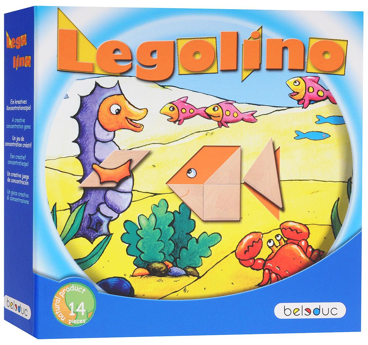 Beleduc Обучающая игра Леголино22312Современный вариант игры Танграм (Леголино) способствует развитию фантазии, абстрактного мышления, визуального и тактильного восприятия цветов и форм, а также концентрации внимания и усидчивости. В каждой карточке отсутствует определенный элемент, который необходимо заполнить геометрическими фигурами, чтобы получился целый рисунок. Игрокам предлагаются задания различных уровней сложности. Также можно придумывать фигуры самостоятельно. Головоломка Танграм - любимая игра детей и взрослых, является разновидностью классических пазлов. Главное отличие Танграма заключается в том, что части головоломки образуются путем деления квадрата на части. Средняя продолжительность игры составляет 10-15 минут.