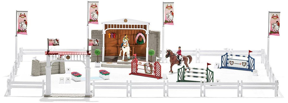 Schleich Игровой набор Турнир с лошадьми и наездниками42338Восхитительный игровой набор Schleich Турнир с лошадьми и наездниками приведет в восторг всех любителей серии фигурок с лошадьми. Большой турнир с лошадьми начался! Только наездник на самой быстрой лошади, совершивший наименьшее количество ошибок, будет стоять на подиуме победителя. Победитель получит прекрасный кубок, а его лошадь - красивый венок победителя. Турнир всегда является большим испытанием для лошадей и наездников. Преодоление толстой каменной стены требует их полной концентрации. Также сложен для выполнения длинный прыжок через препятствие с водой. Лошадь часто пытается уклониться от сверкающей воды. А прыжки через препятствия из жердей и досок сложны своей высотой. Наездники должны оставаться спокойными и не пасовать перед любыми сложностями. И, конечно же, они должны быть быстрее своих конкурентов. Турнир можно изменять, переставляя и трансформируя препятствия.